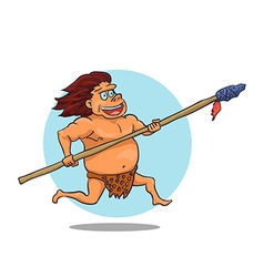 Cartoon male caveman character with spear vector