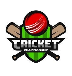 Cricket sports logo label badge emblem vector
