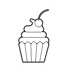 cupcake cherry bakery pastry food fresh vector image