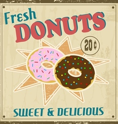 Donuts vintage poster vector image