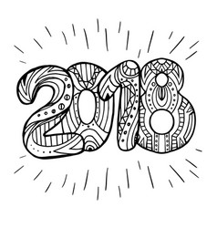 doodle year 2018 with boho pattern new year vector image