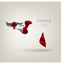Flag of TONGA as a country with a shadow vector image
