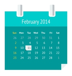 Flat calendar page for February 2014 vector image vector image