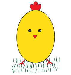 funny yellow chicken vector image vector image