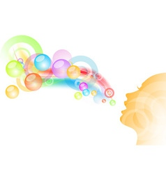 girl and bubble gum background vector image vector image