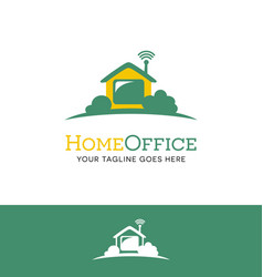 house logo with wifi work from home vector image vector image