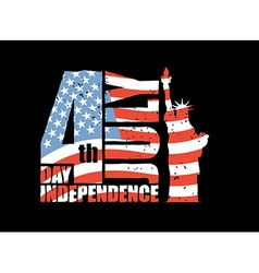 Independence Day of America Statue of Liberty and vector image vector image