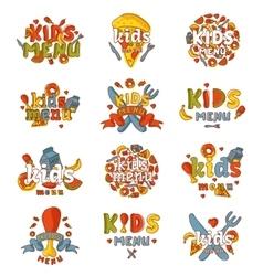 Kids organic menu hand drawn banner set vector image vector image