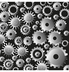 Many gears on black background vector