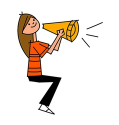 Megaphone woman holding vector