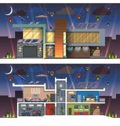 Modern house facade section night vector