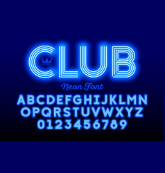 Neon style modern font alphabet and numbers vector