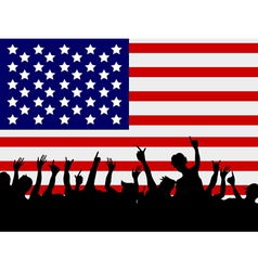 people gathering in front of USA flag vector image