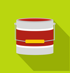 red paint bucket icon flat style vector image
