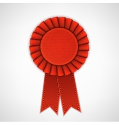 Red Realistic Textile Rosette with Ribbons vector image