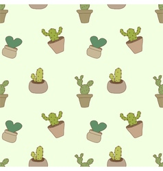 Seamless pattern of cactus pot vector image vector image