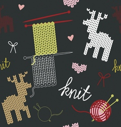 Seamless pattern with knit deer vector