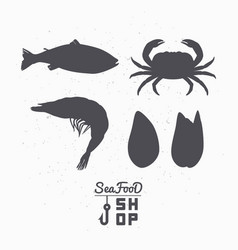 Set of marine animals silhouettes vector