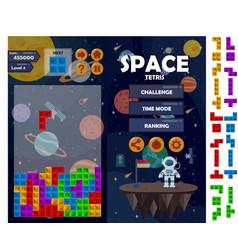 Space tetris matching game kit vector