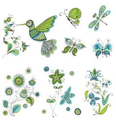 Spring Summer Doodles - bird butterflies flowers vector image vector image