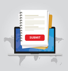 Submit document online via laptop with red button vector