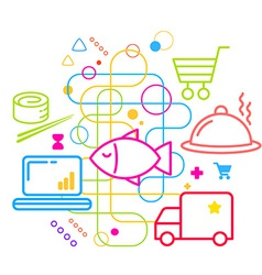 Symbols of ordering and delivery of food via the vector