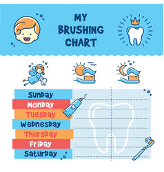 Teeth brushing incentive chart child dental vector