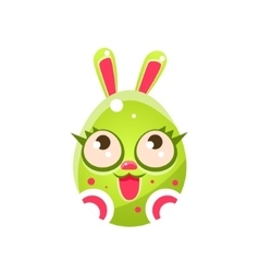 Toxic green egg shaped easter bunny with eyelashes vector