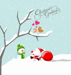two cute birds in ove at winter time vector image
