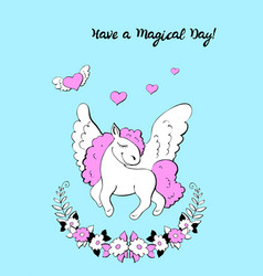 unicorn birthday party invitation vector image