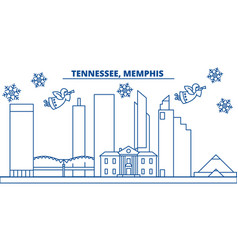 usa tennessee memphis winter city skyline vector image