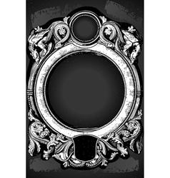 Vintage floral frame with dragons on blackboard vector