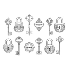 Vintage key keyhole and lock set vector image