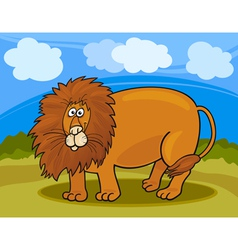 wild lion cartoon vector image vector image