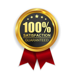100 satisfaction guaranteed golden medal label vector image vector image