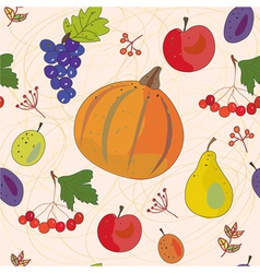 Vegetables and fruits autumn seamless vector