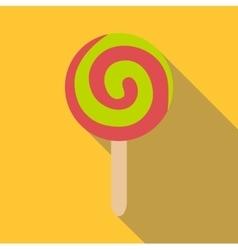 Round ice cream icon flat style vector image