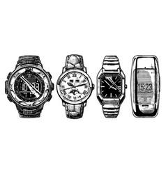 Set of mens wristwatches vector