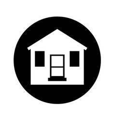 Cute wooden house isolated icon vector