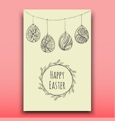 Card with hanging easter eggs handdrawn vector