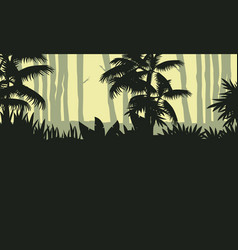 Landscape of jungle with tree silhouette vector
