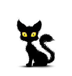 Black cat sitting isolated background vector