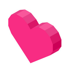 Bright pink angular heart computer icon isolated vector