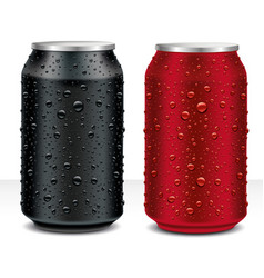 Aluminum cans in black dark red with fresh water vector