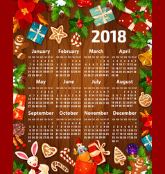 2018 calendar christmas new year design vector
