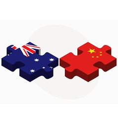 Australia and china flags in puzzle vector