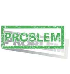 Green outlined problem stamp vector