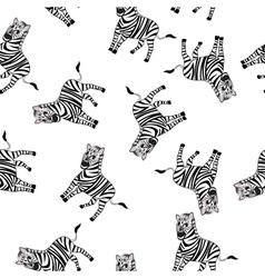 Seamless Funny Cartoon Zebra vector image