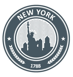 New york stamp with statue of liberty vector