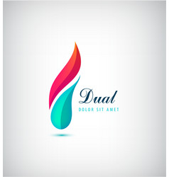 abstract dual 2 parts vibrant logo vector image vector image